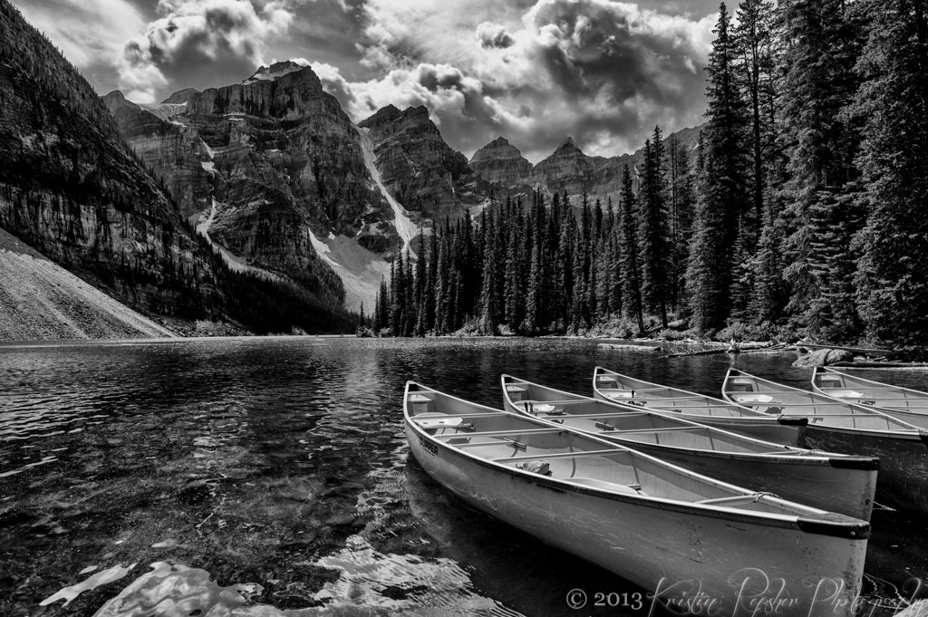 Moraine Lake isn't often seen without its signature brilliantly blue waters, but this scene -- with its dramatic clouds welling up over the top of the mountains -- begged for black & white.