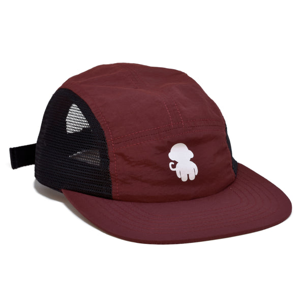 Mesh Monkey Logo 5 Panel Hat Burgundy