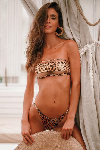 Bikini Animal Print Strapless Tulle Mermaid Brazil