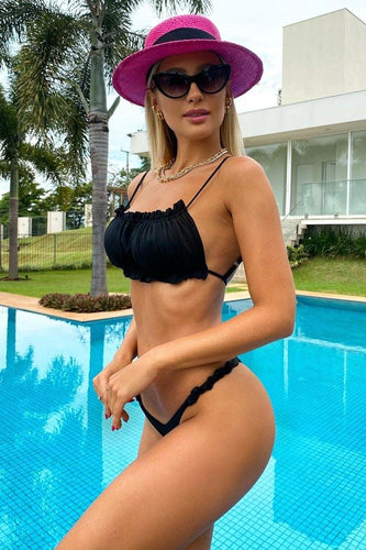 Bikini Cropped Front Single Black Mermaid Brazil