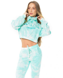 Cropped Let's Gym Tie Dye Green