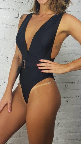 Swimsuit Marrakesh Black V-Neck - WaveFit Activewear