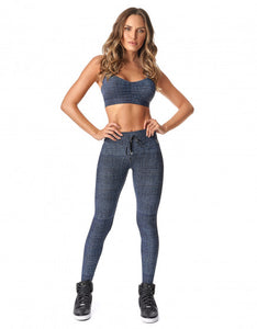 Legging Fusô Butt Lift Talita Blue Jeans With White