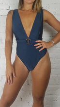 Load image into Gallery viewer, Swimsuit Ribbed Petroleum Blue V-neck - WaveFit Activewear