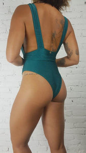 Swimsuit Marrakesh Green V-Neck - WaveFit Activewear