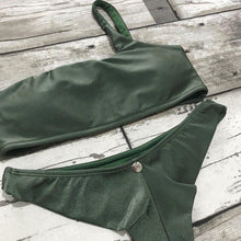 Load image into Gallery viewer, Bikini Set Moana Olive Shoulder Top - WaveFit Activewear