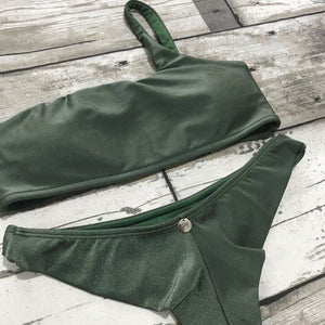 Bikini Set Moana Olive Shoulder Top - WaveFit Activewear