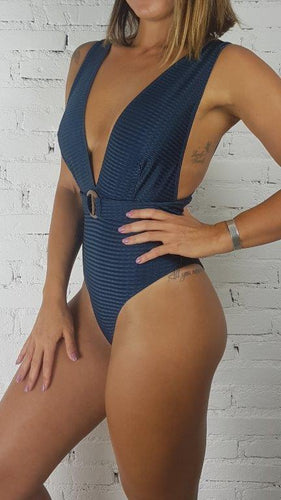 Swimsuit Ribbed Petroleum Blue V-neck - WaveFit Activewear