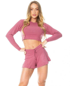 Cropped M / L Let's Gym Canelado Fashion Pink