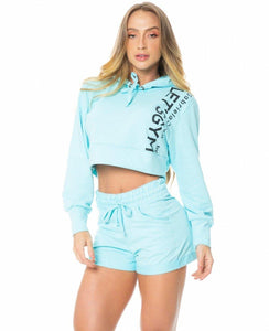 Cropped Let's Gym Sport Fleece Trend Blue