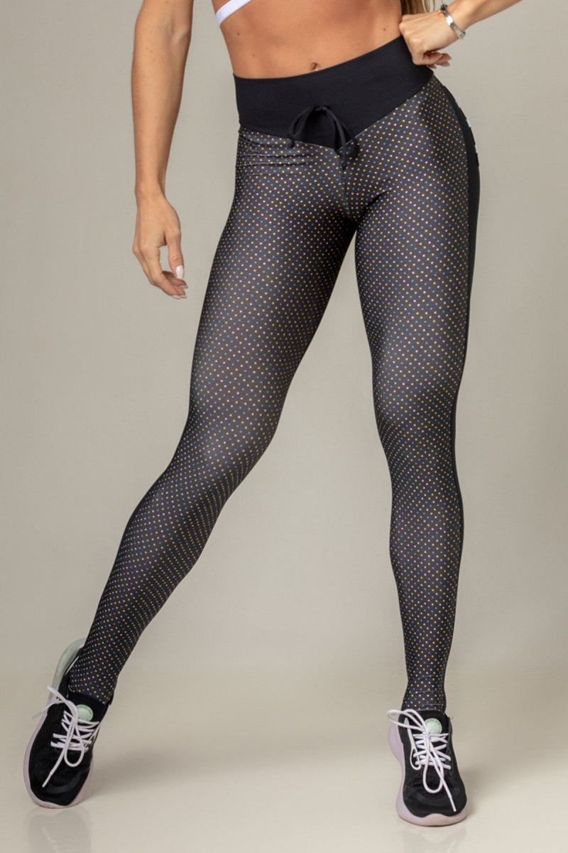 Legging Party Fitness with Polka Dot Print and Back Pocket