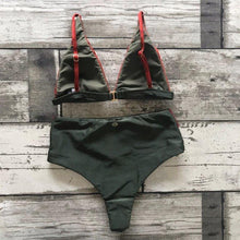 Load image into Gallery viewer, Bikini Set Hot Pants Olive Green and Terracotta Shine