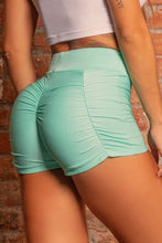 Load image into Gallery viewer, Shorts Green Fitness Sh with Ruffle - WaveFit Activewear