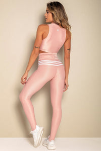 Leggings Rec Fitness Pink with Ruffle - WaveFit Activewear