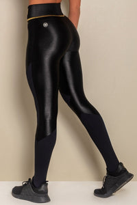 Leggings Shiny Black Fitness Recording with Silk - WaveFit Activewear