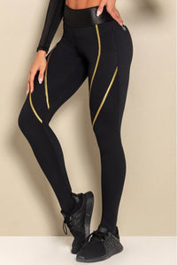 Leggings Rec Fitness Black with Golden Elastic - WaveFit Activewear