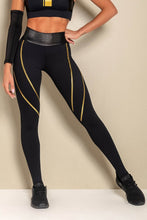 Load image into Gallery viewer, Leggings Rec Fitness Black with Golden Elastic - WaveFit Activewear