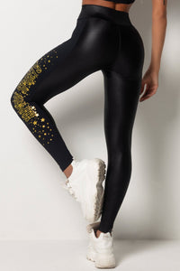 Legging Tfin Fitness Cirre Black with Gold Silk - WaveFit Activewear