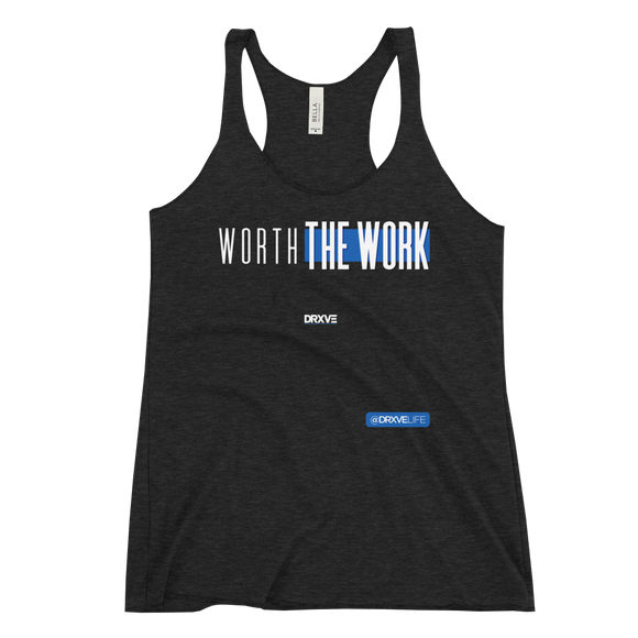 WORTH THE WORK - DRXVE WorkShirt™ Women's Black Racerback Tank