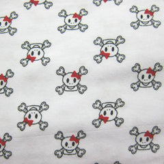 Girlie Skulls on White Cotton/Spandex Jersey
