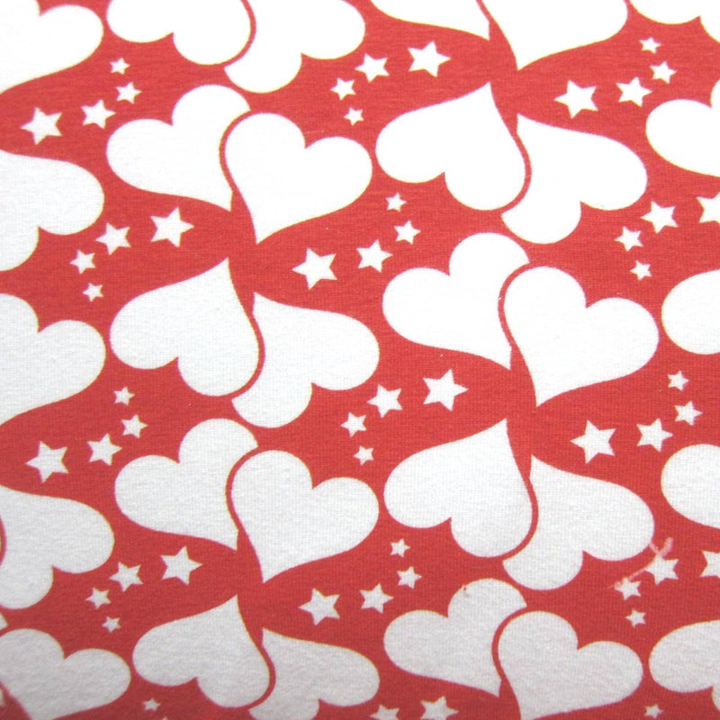 White Hearts on Red Cotton/Spandex Jersey