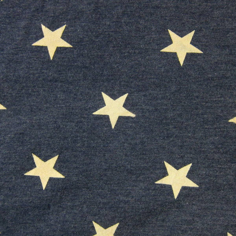 Tan Stars on Navy Cotton/Poly Jersey