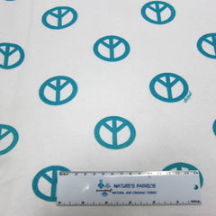 Teal Peace on White Cotton Fleece