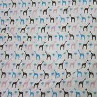 Multi Giraffes on White Cotton/Poly Jersey