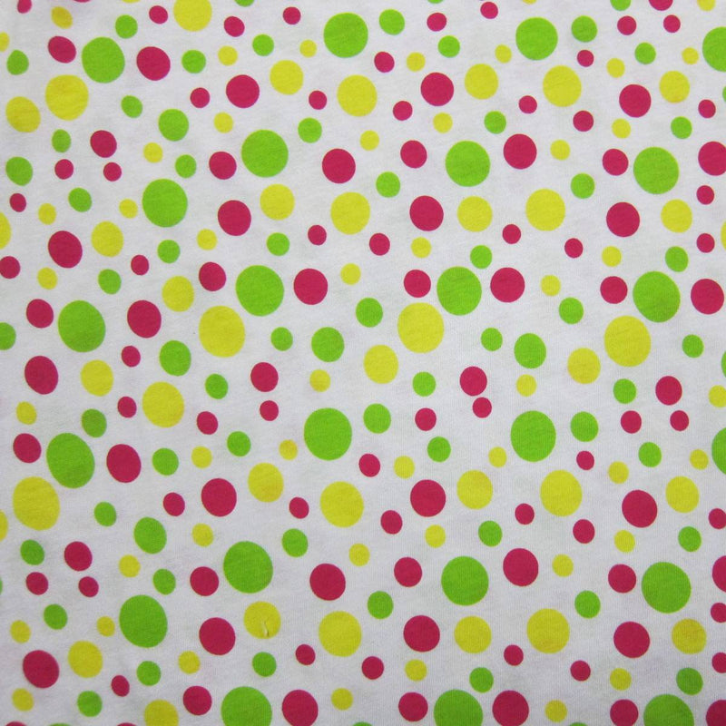 Red, Yellow and Green Dots on White Cotton Jersey