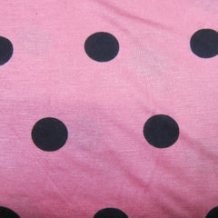 Black Dots on Coral Cotton/Poly Jersey