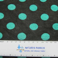 Green Dots on Black Cotton/Poly Jersey