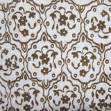 Brown Antique Flowers on Natural Cotton Jersey