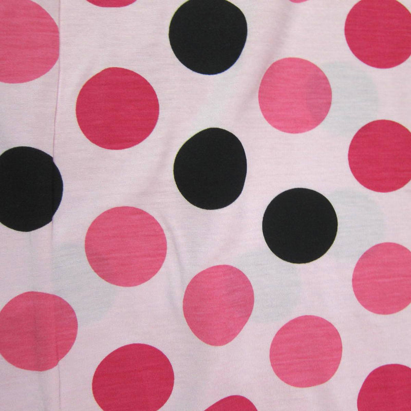 "Pink and Black 2"" Dots on Pink Cotton Jersey"