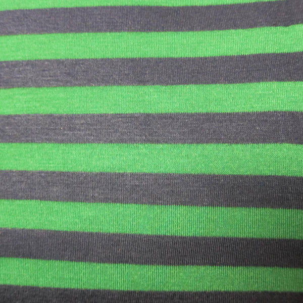 "Navy and Green 3/8"" Stripes on Cotton/Poly Jersey"