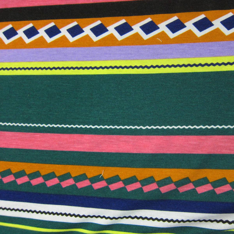 Green and Pink Aztec on Cotton/Spandex Jersey