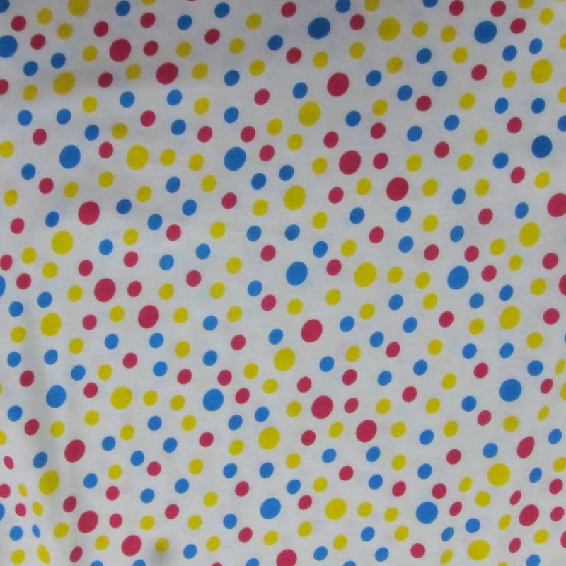 Red, Yellow and Blue Dots on White Cotton Jersey
