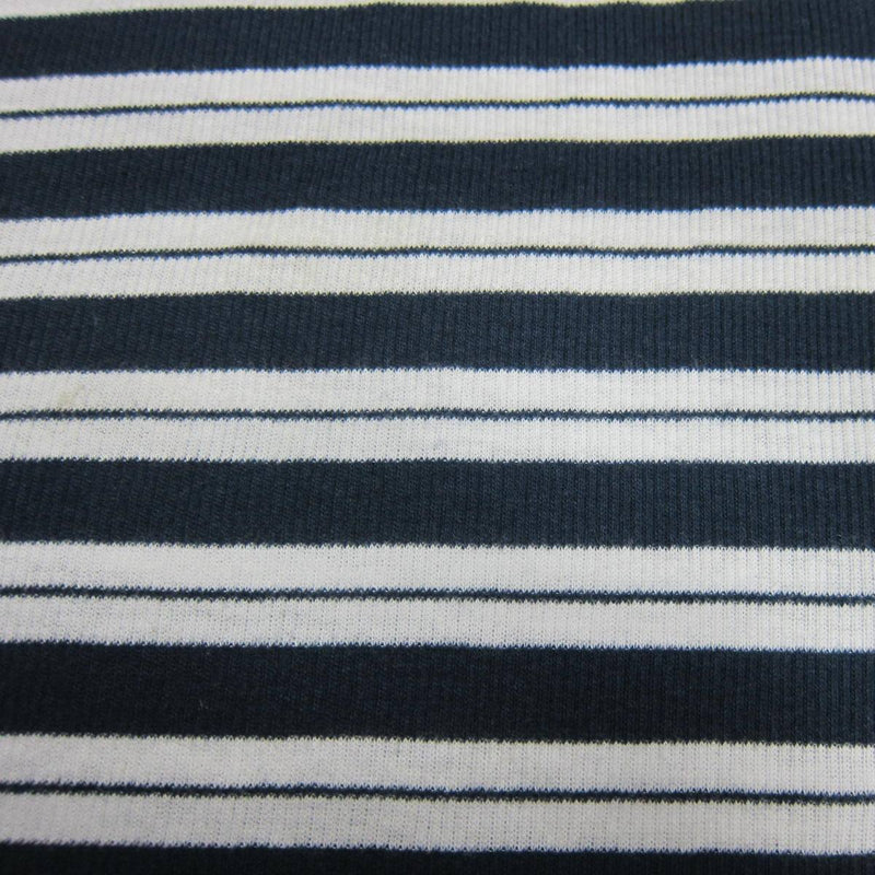 Blue and White Stripe Cotton Rib Knit