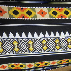 Yellow, Black and Orange Aztec on Cotton/Spandex Jersey
