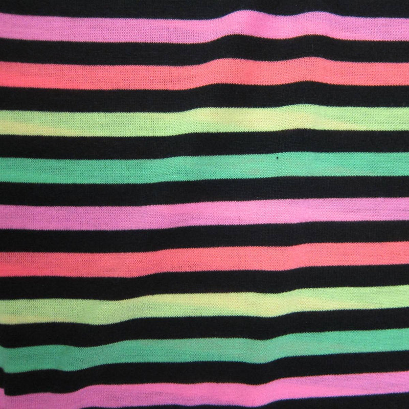 Neon Asteroid Stripe on Black Cotton/Poly Jersey