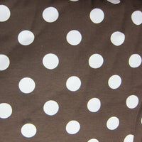 White Dots on Brown Cotton/Spandex Jersey