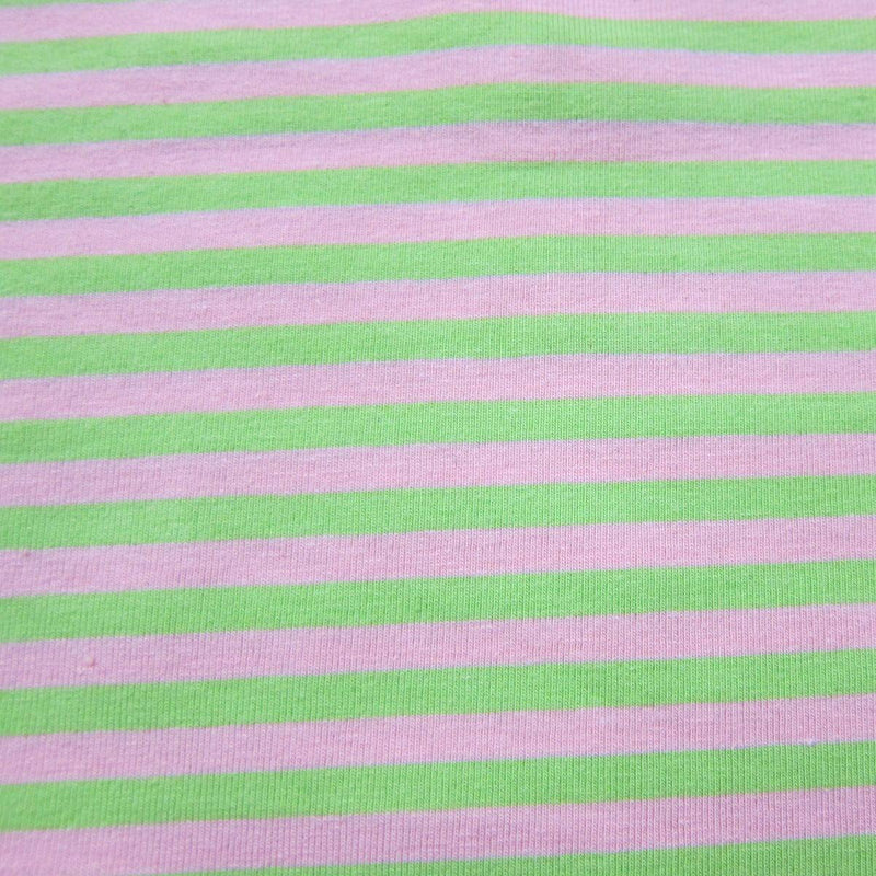"Lime and Pink 1/4"" Stripes on Cotton/Spandex Jersey"
