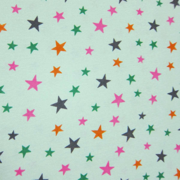 Multi Stars on Lime Cotton Rib Knit