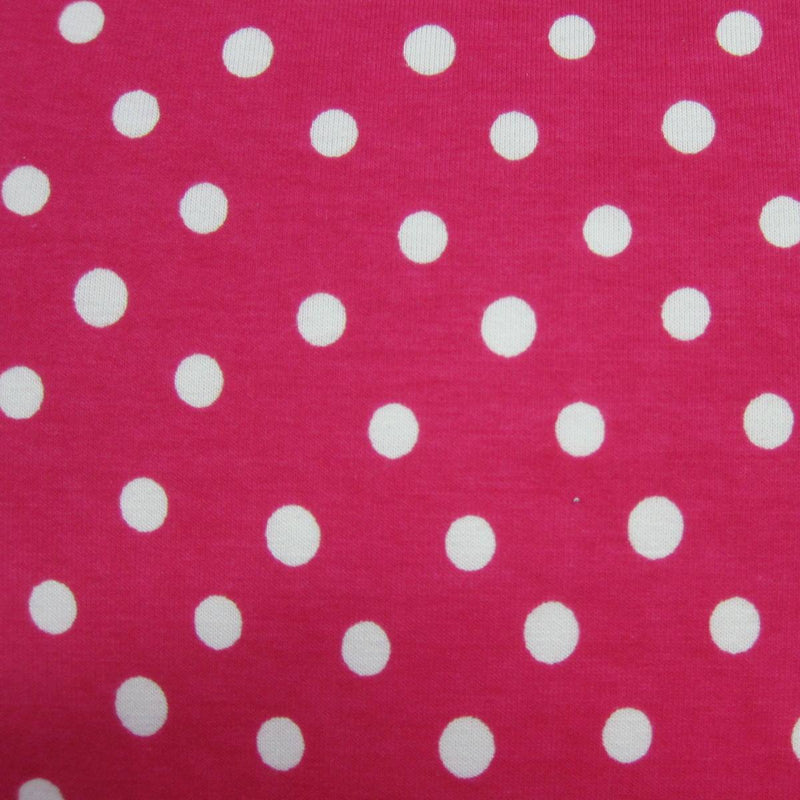 White Pencil Dots on Hot Pink Cotton Jersey