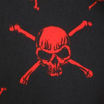 Red Skulls on Black Cotton Interlock