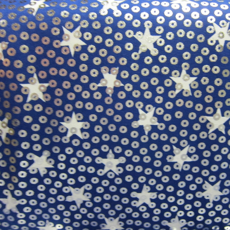 White Stars on Blue Cotton Jersey