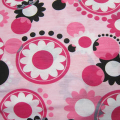 Pink and Black Flowers on Pink Cotton Jersey