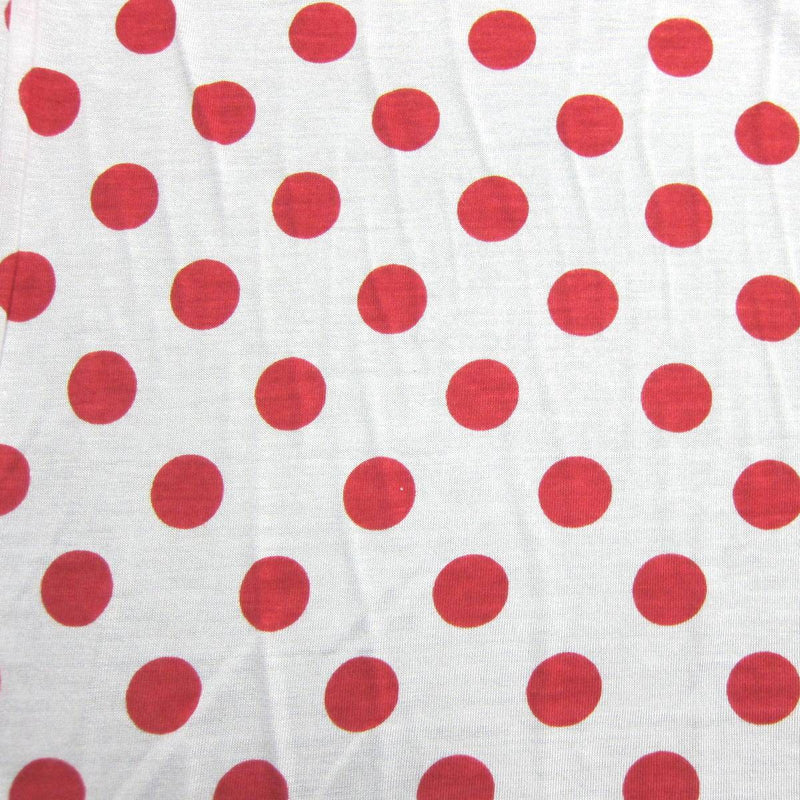 "Red 1"" Dots on White Cotton/Poly Jersey"