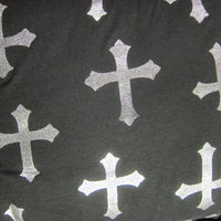 Silver Crosses on Black Cotton/Spandex Jersey