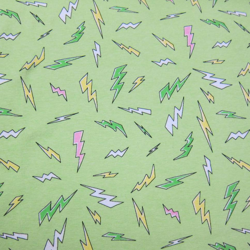 Lightning on Green Cotton/Spandex Jersey