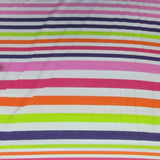 Graduated Rainbow Stripe on White Cotton Jersey